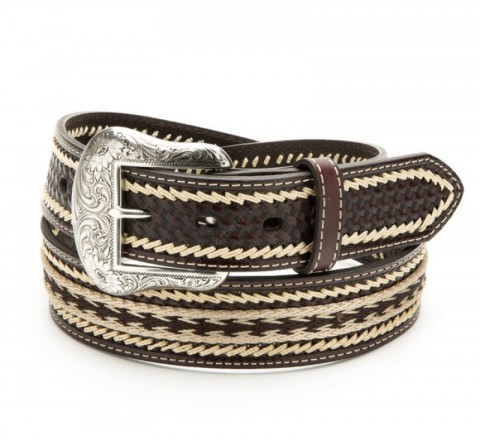 Nocona unisex brown leather belt with indian style horsehair braid