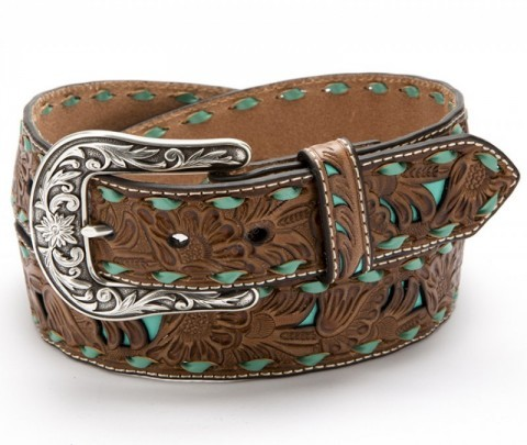 Cognac colour cow leather belt for denim jeans with turquoise braids.