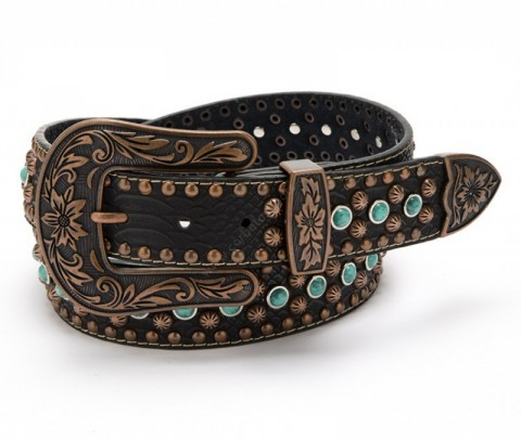 Western fashion belt with turquoise beads and big belt buckle