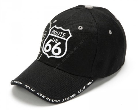 Route 66 black cap with white stitching logo