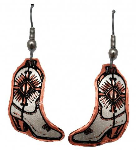 Copper cowboy boot earrings
