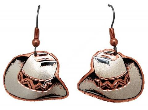 Copper cowboy hat earrings