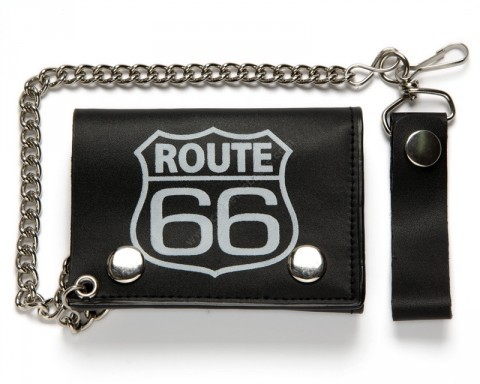 Small Route 66 printed signal biker black chain wallet