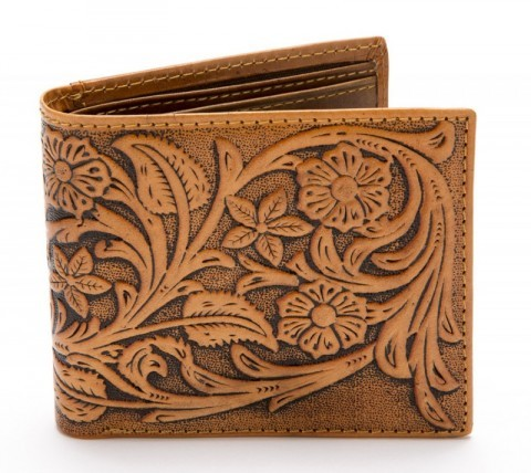 Engraved natural leather cowboy wallet with floral design