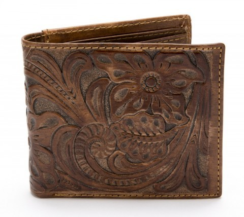 Tooled western distressed brown leather bi-fold wallet with floral filigrees