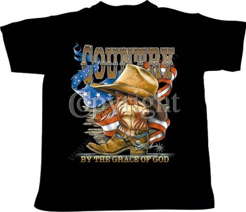 COUNTRY BY THE GRACE OF GOD mens black t-shirt