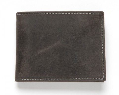 Very compact distressed black leather wallet with protective plastified flap