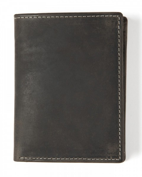 Antique look black leather trifold big space wallet with double press stud closing