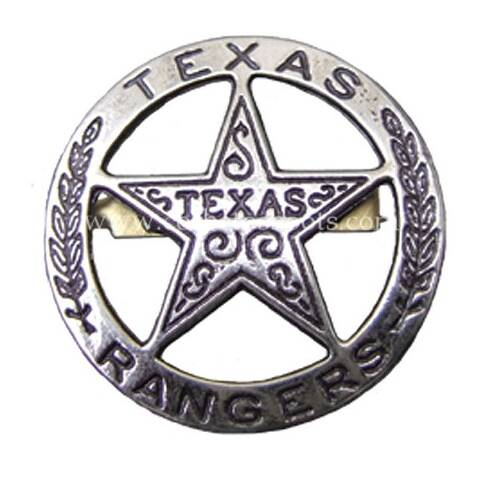 Rounded engraved Texas Rangers badge