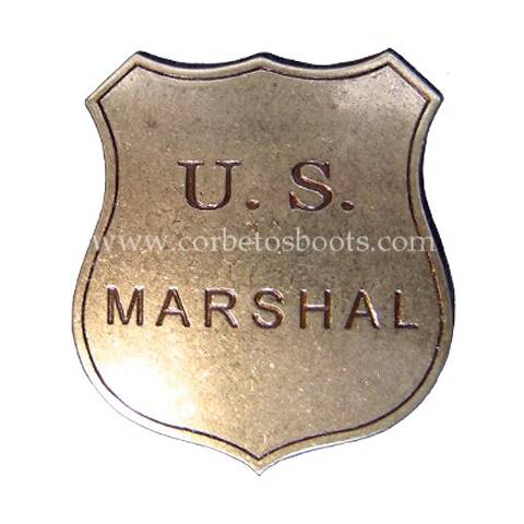 Antique gold look U.S. Marshal shield badge