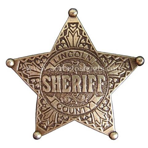 Golden Lincoln County engraved sheriff badge