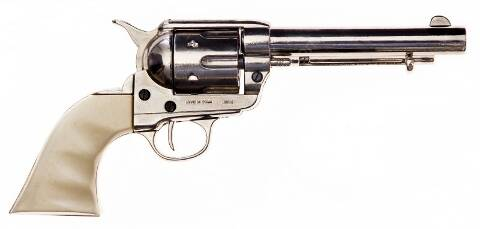 Nickel plated Colt revolver replica with ivory look butt