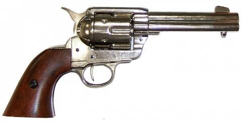 Colt Peacemaker 45 caliber western gun with natural wooden butt