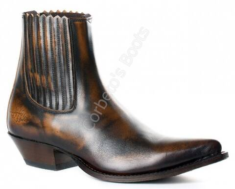 F. J. Sendra unisex brown leather plain ankle cowboy boot