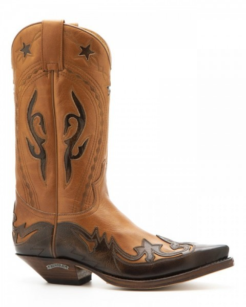 Limited edition mens Sendra orange brown and cinnamon brown leather western boots