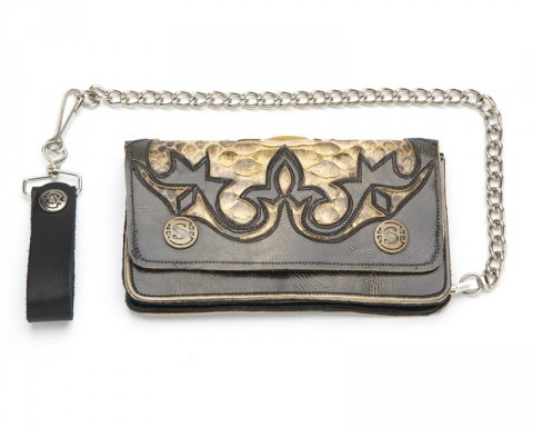 Snake skin and distressed leather Sendra biker style chain wallet