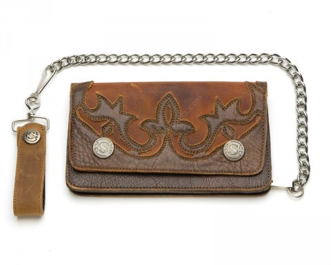 Sendra distressed whiskey brown leather cowboy chain wallet