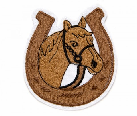 Horseshoe shape patch with brown horse and reins