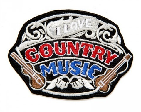 I Love Country Music embroidered clothing patch