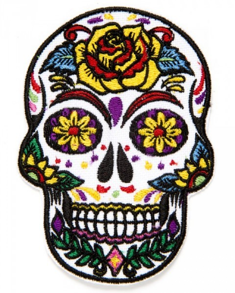 Mexican sugar skull clothing patch with yellow and red flowers