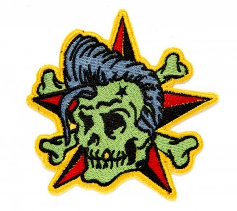 Rocker skull with toupee and background Sailor Jerry red & black star patch