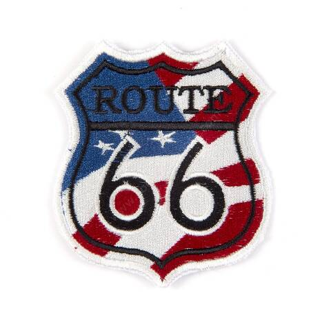 Route 66 signal with USA flag patch
