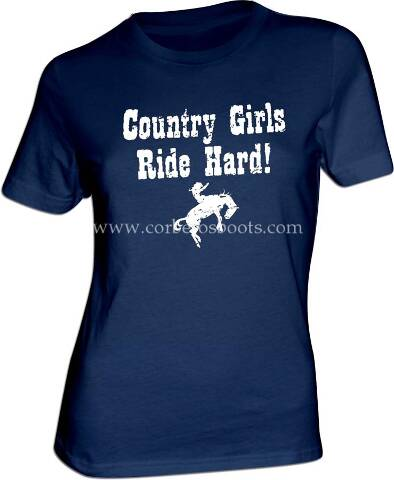 Ladies COUNTRY GIRLS blue western t-shirt