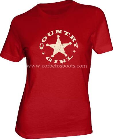 Ladies COUNTRY GIRL red western t-shirt