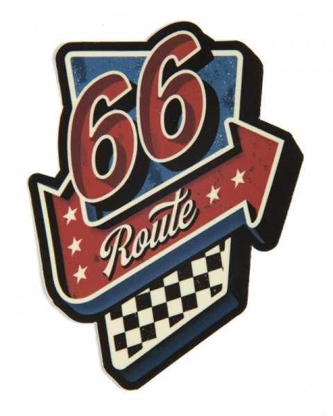 Road neon sign style Route 66 sticker