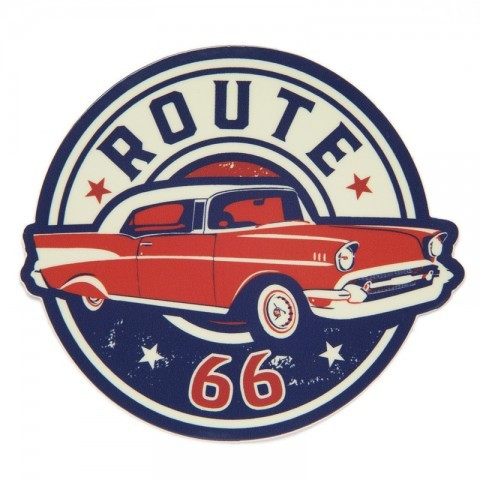 Red American sedan Route 66 sticker