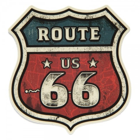 Route 66 classic road sign sticker with map