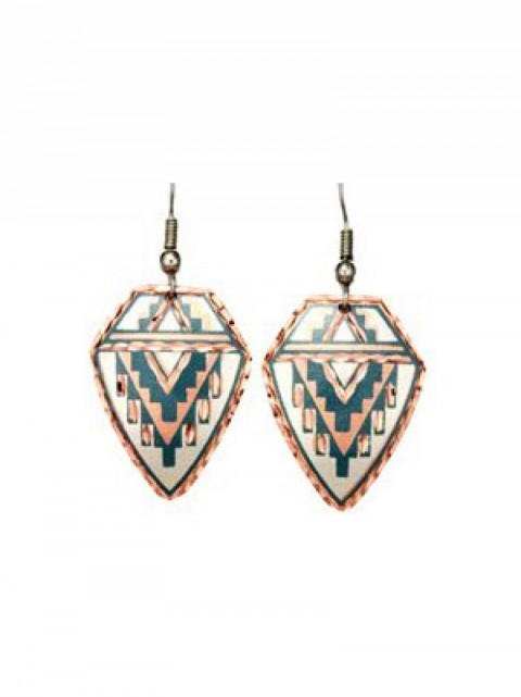 Diamond shape Southwestern earrings with turquoise navajo scroll