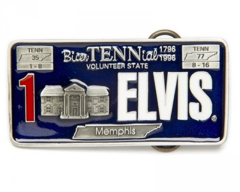 Elvis Presley Tennessee license plate belt buckle
