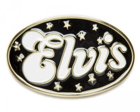 Oval Elvis Presley enameled belt buckle with stars