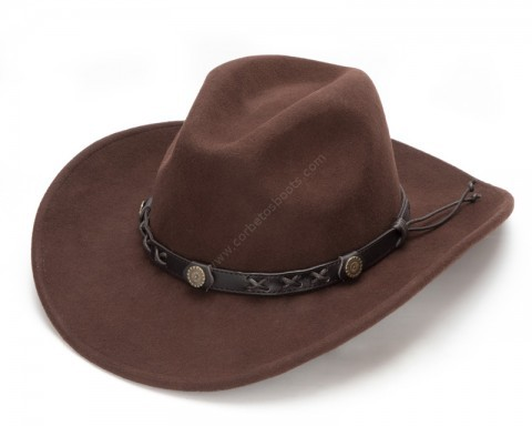 Chestnut brown wool felt cowboy hat with short brim