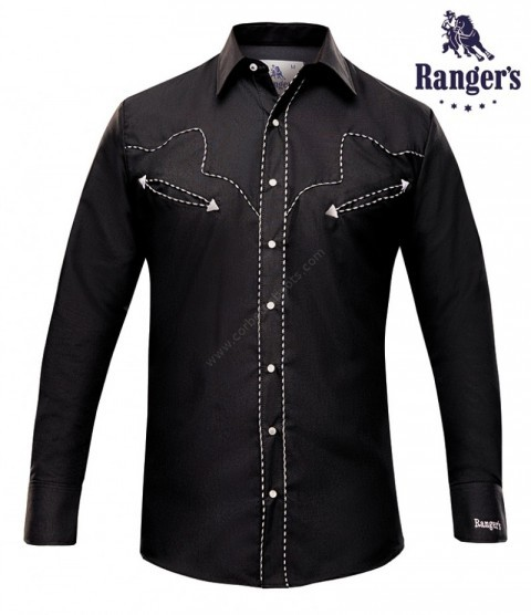 Mens black western style shirt with yoke