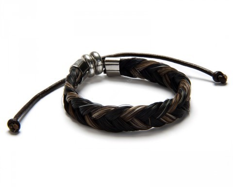 Genuine black & dark brown natural braid horse hair bracelet