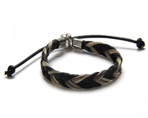 Genuine brown & white natural braid horse hair wristband