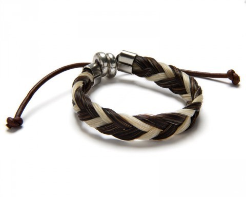Genuine white & brown natural braid horse hair wristband