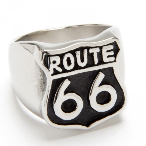 Route 66 classic logo black background ring
