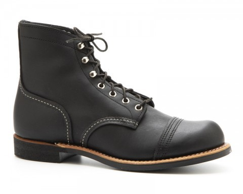 Greased black leather Red Wing work boots with black Taslan laces