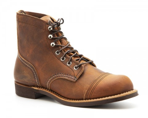 Tanned copper brown leather Iron Ranger Red Wing work boots with Vibram rubber soles