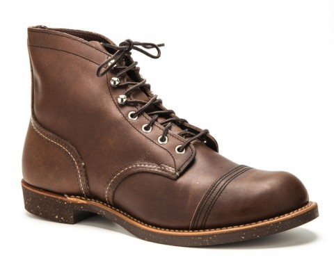 Red Wing greased brown laced ankle boot with rubber sole