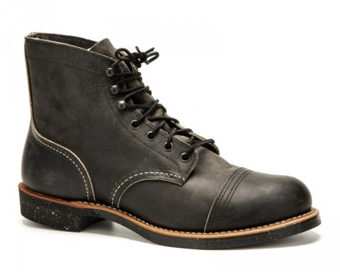 Red Wing greased charcoal laced ankle boot with rubber sole