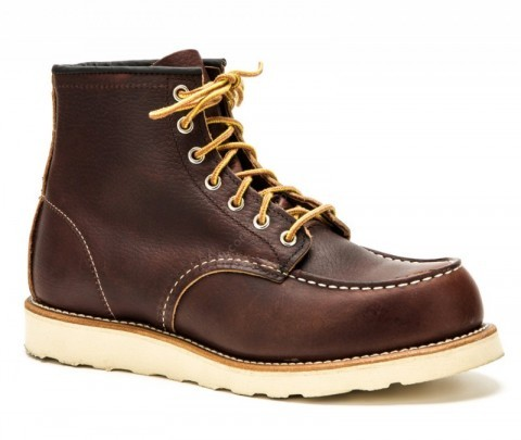 Red Wing mens dark brown leather laced work boots for men
