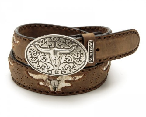 Sendra Boots greased light brown leather cowboy belt with longhorn buckle