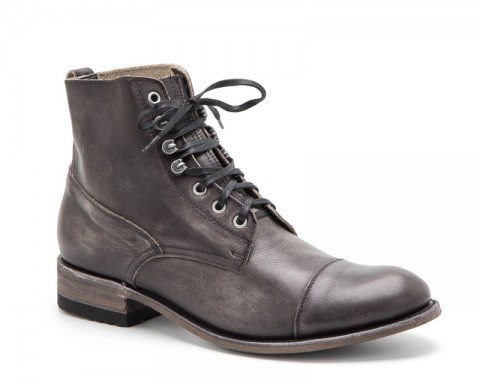 Urban look mens Sendra laced smooth vintage grey leather boots
