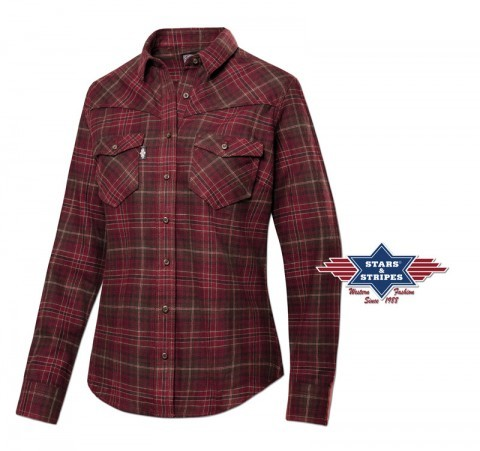 Checkered maroon and brown country style cotton ladies shirt