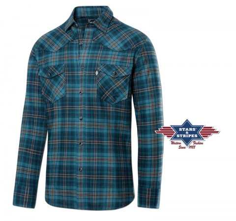 Mens Stars & Stripes blue cowboy shirt with brown stripes