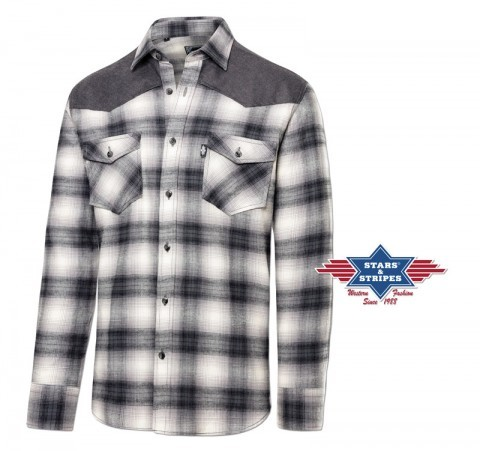 Cotton flannel basic men western grey and white checkered shirt with yoke